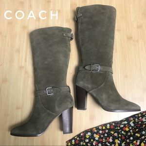 COACH Suede Tall Boots Heeled Beverly Olive